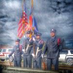 Frederick-Firestone Fire District Color Guard lines up to pay tribute at the Honor Flight